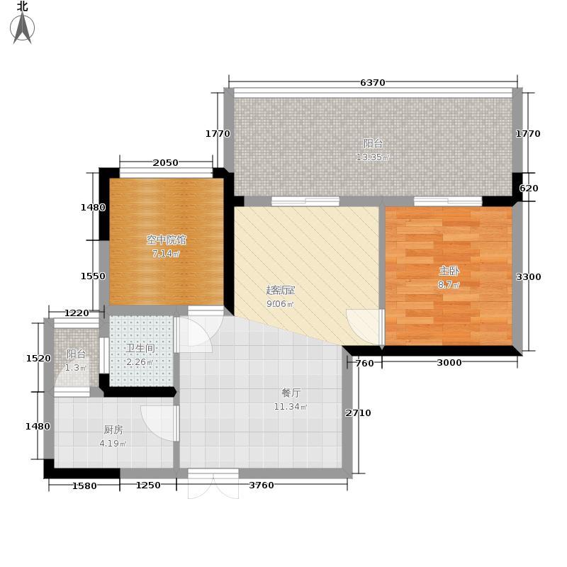 耀文枫林郡61.30㎡一期1-9号楼标准层E2户型