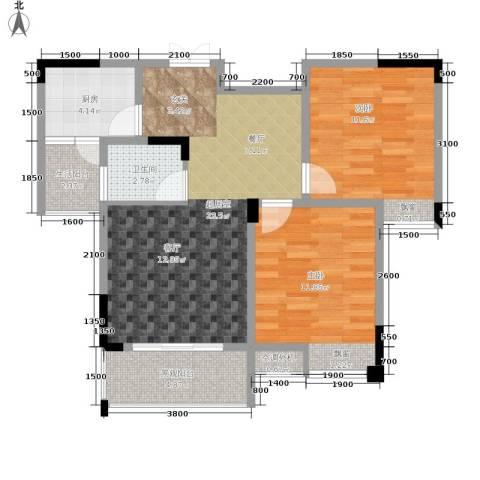 海宇西苑2室0厅1卫1厨75.00㎡户型图