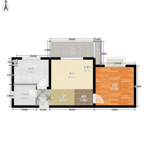 大川水岸菲尔小城1室1厅1卫1厨50.00㎡户型图
