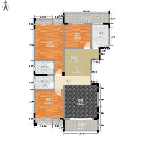 海宇西苑3室0厅2卫1厨117.00㎡户型图