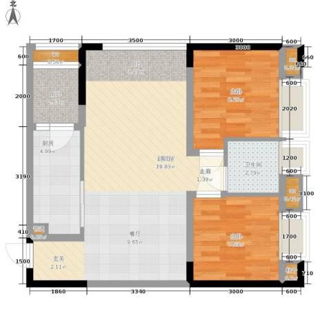 曦圆青岗湾2室0厅1卫1厨73.00㎡户型图