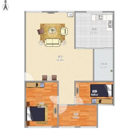 舜怡佳园3室1厅1卫1厨104.00㎡户型图