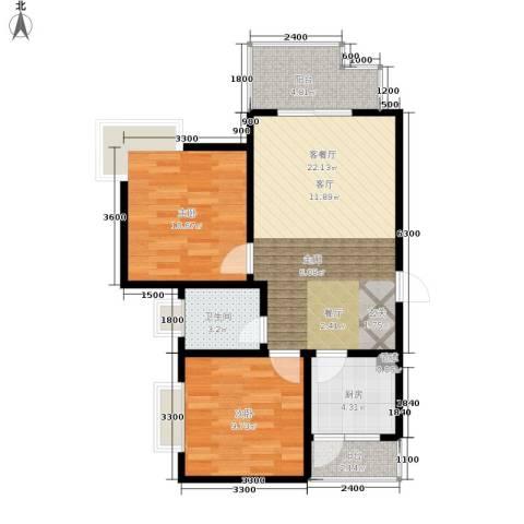 大川水岸菲尔小城2室1厅1卫1厨61.00㎡户型图