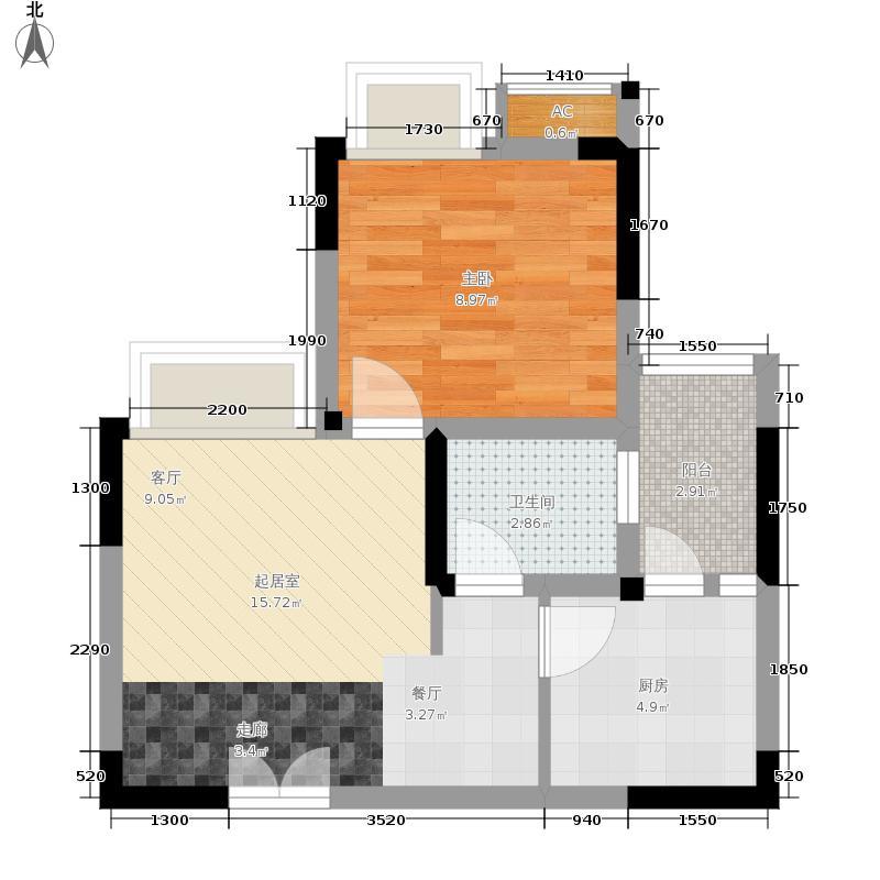 风花树49.24㎡二期14、15号楼高层9号房户型1室1厅