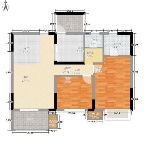 重庆天地雍江艺庭2室0厅2卫1厨89.00㎡户型图