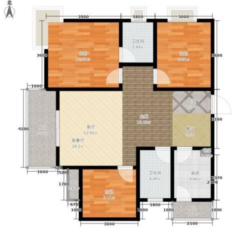 大川水岸菲尔小城3室1厅2卫1厨85.00㎡户型图