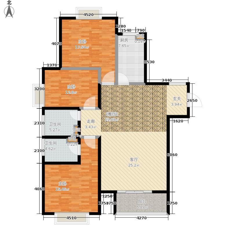 慧翔龙苑133.92㎡B户型3室2厅2卫