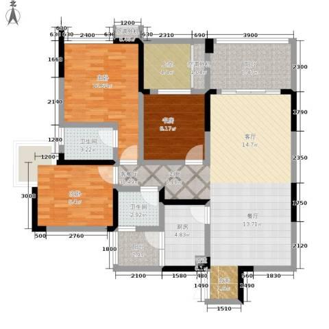雅瑞阁青山河畔3室1厅2卫1厨116.00㎡户型图