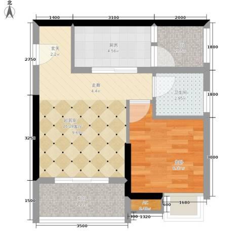 阳明佳城1室0厅1卫1厨42.00㎡户型图