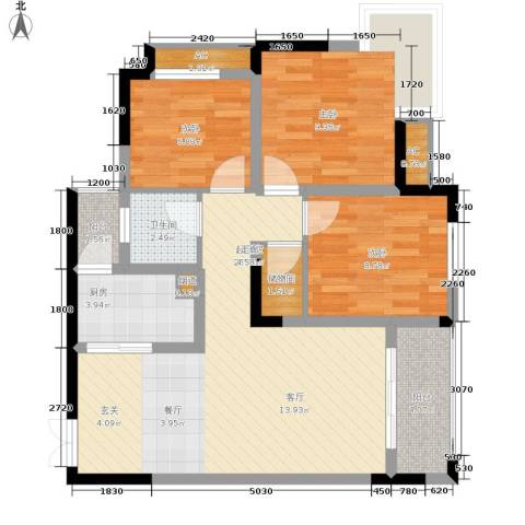 顺祥壹街区3室0厅1卫1厨73.00㎡户型图