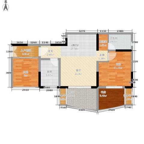 瀛嘉帝逸城3室0厅1卫1厨74.00㎡户型图