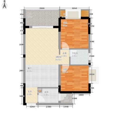 顺祥壹街区2室0厅1卫1厨65.00㎡户型图