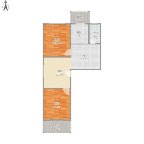 草场门大街123号2室1厅1卫1厨83.00㎡户型图