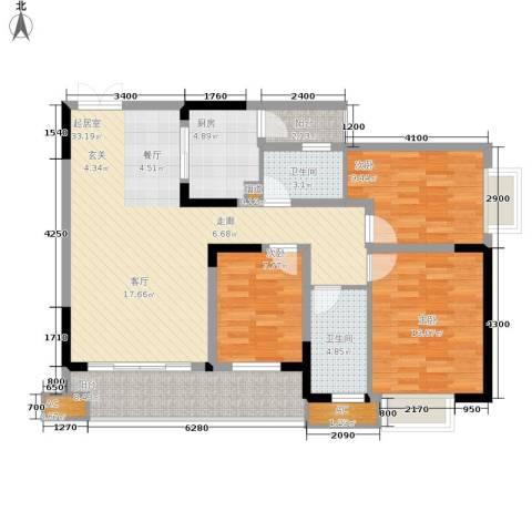顺祥壹街区3室0厅2卫1厨94.00㎡户型图