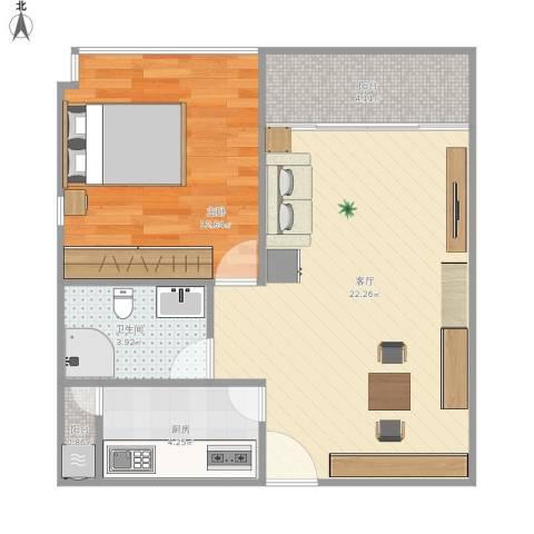 庄士新都二期1室1厅1卫1厨65.00㎡户型图