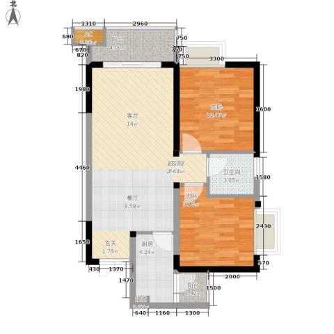 顺祥壹街区2室0厅1卫1厨63.00㎡户型图