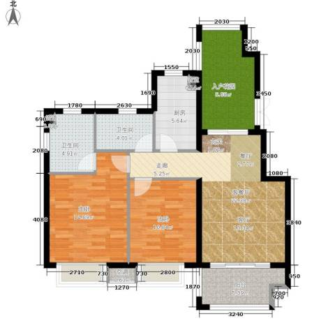 富力湾四季半岛2室1厅2卫1厨90.00㎡户型图