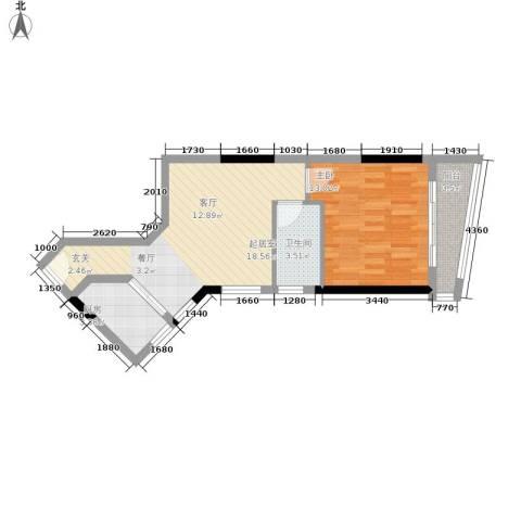 海客瀛洲1室0厅1卫1厨49.00㎡户型图