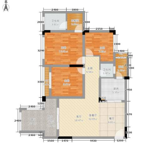 金科开州财富中心3室1厅2卫1厨110.00㎡户型图