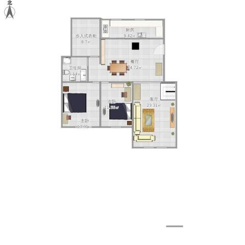融侨观邸2室2厅1卫1厨130.00㎡户型图