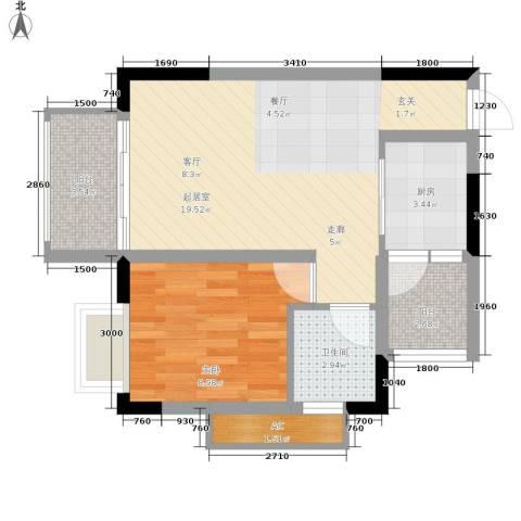 星月湾1室0厅1卫1厨44.00㎡户型图