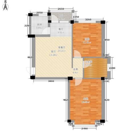 华宇凤凰城2室1厅1卫1厨70.00㎡户型图