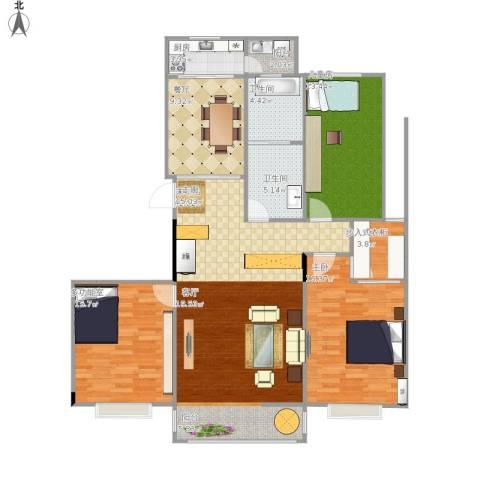 凤凰花园2室1厅2卫1厨151.00㎡户型图