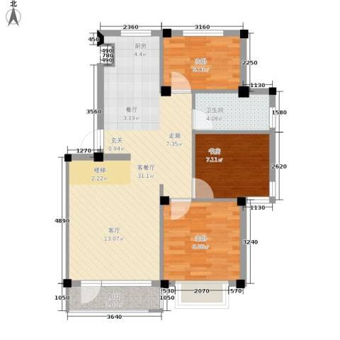 华宇凤凰城3室1厅1卫0厨68.00㎡户型图