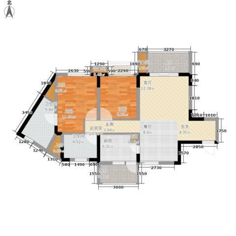 重庆天地雍江艺庭2室0厅2卫1厨90.00㎡户型图