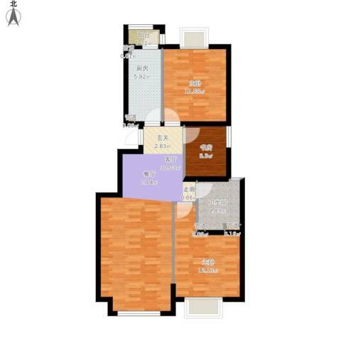 中惠卡丽兰3室1厅1卫1厨102.00㎡户型图