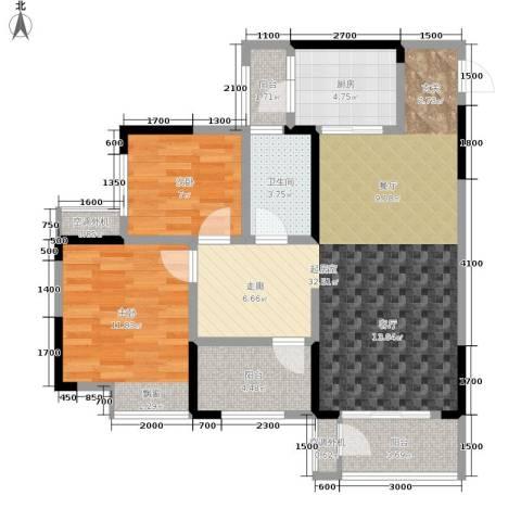 银翔城2室0厅1卫1厨90.00㎡户型图