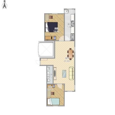 常青园北里2室1厅1卫1厨75.00㎡户型图