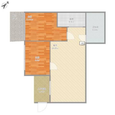 荔城花园2室1厅1卫1厨77.00㎡户型图
