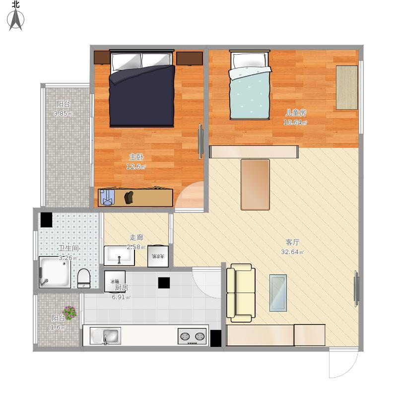 建西苑中里的户型图-改造方案1