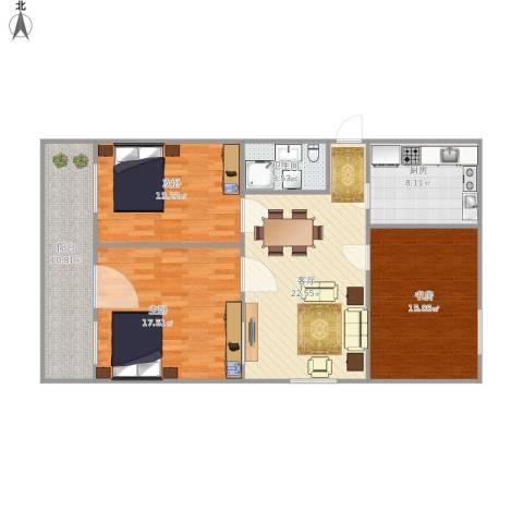 邮电新苑3室1厅1卫1厨122.00㎡户型图