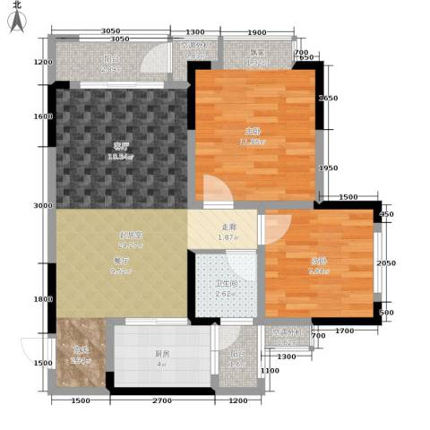 银翔城2室0厅1卫1厨73.00㎡户型图