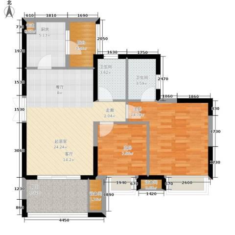 重庆天地雍江艺庭2室0厅2卫1厨74.00㎡户型图