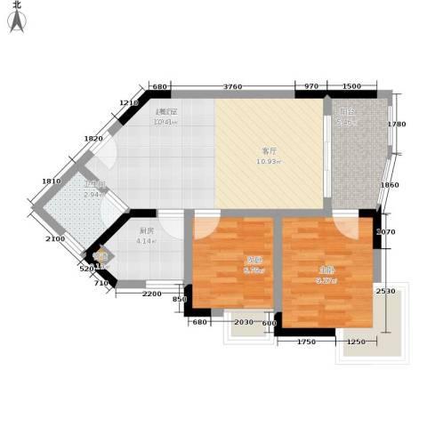 金银苑2室0厅1卫1厨55.00㎡户型图