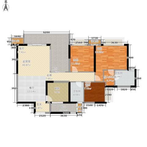 重庆天地雍江艺庭3室0厅2卫1厨123.00㎡户型图