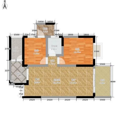 九鼎名都2室0厅1卫1厨66.00㎡户型图