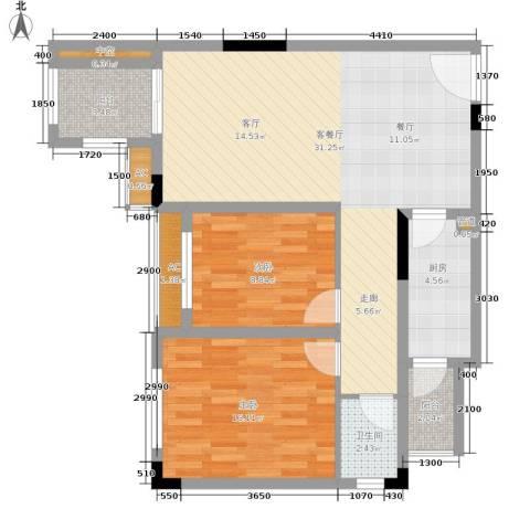 金科开州财富中心2室1厅1卫1厨83.00㎡户型图