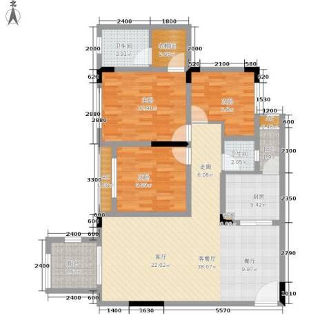 金科开州财富中心3室1厅2卫1厨117.00㎡户型图