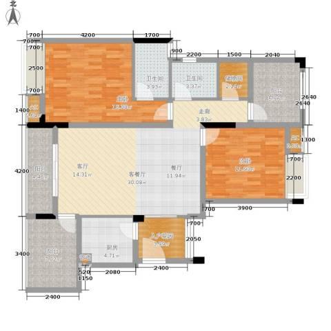 金科开州财富中心2室1厅2卫1厨116.00㎡户型图