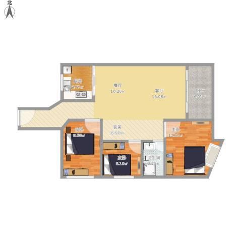 汇龙湾花园3室1厅1卫1厨110.00㎡户型图