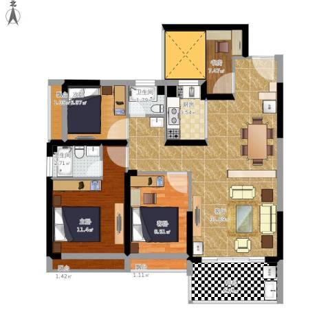 秋谷康城4室1厅2卫1厨121.00㎡户型图