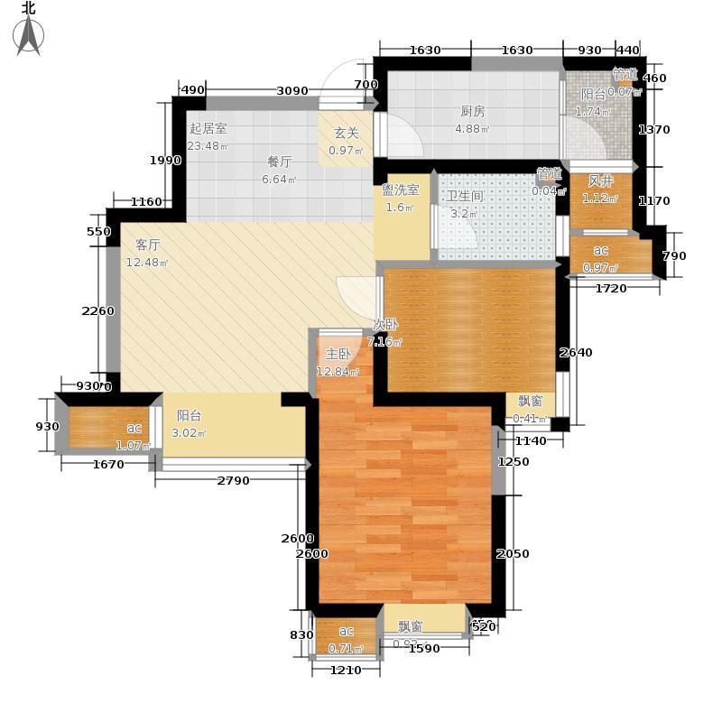 星河荣御76.00㎡二期高层标准层B户型2室2厅
