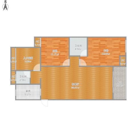 天瑞公馆2室1厅2卫1厨129.00㎡户型图
