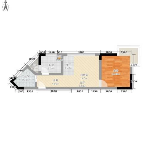 金银苑1室0厅1卫1厨40.00㎡户型图