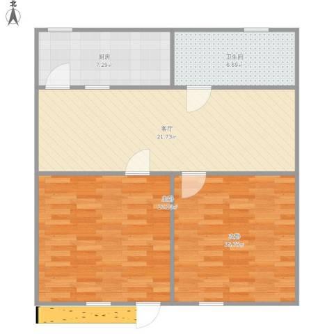 临河小区2室1厅1卫1厨92.00㎡户型图
