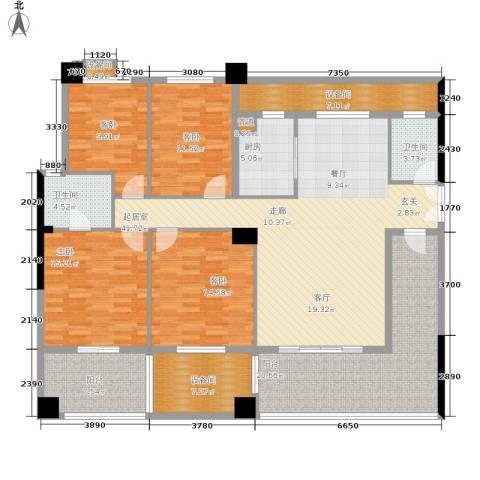鸿铭中心南苑4室0厅2卫1厨170.00㎡户型图